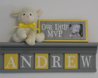 Baby Boy Room Decoration Name Nursery Decor Shelf Gray with Wooden Wall Block Letters Yellow and Gray