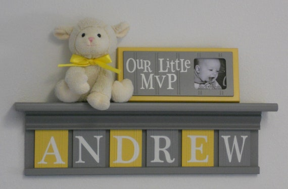 """Baby Boy Room Decoration Name Nursery Decor 24"""" Shelf Gray and 6 Wooden Wall Block Letters Yellow and Gray - ANDREW"""