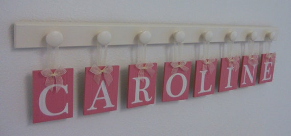 Pink Nursery Art Newborn Baby Girl Gift Personalized for CAROLINE - 8 Wooden Pegs Linen White
