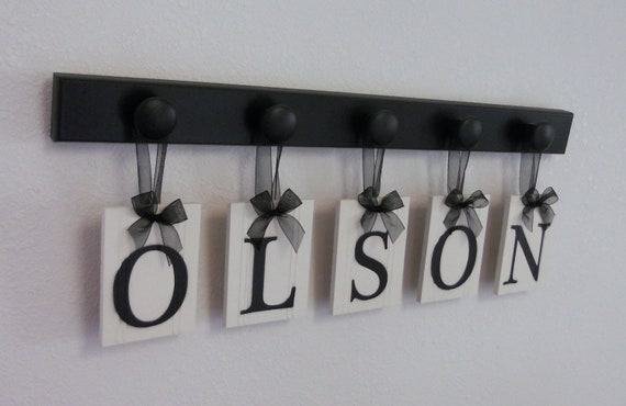 Personalized Family Name Sign, Custom Last Name, Personalized Wood Sign, Wedding Gift, Anniversary, Includes Black 5 Peg Hooks for OLSON