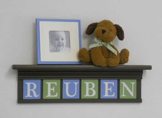 "Blue and Green Sign Personalized Children Nursery Decor 24"" Brown Shelf 6 Wooden Wall Letters - REUBEN"