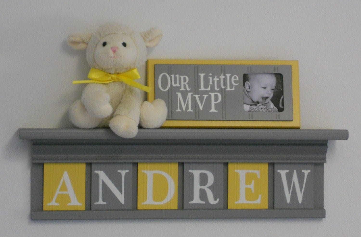 Baby boy room decoration name nursery decor shelf gray with for Baby name nursery decoration