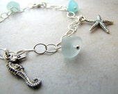 Charm Bracelet Seaglass Sea Glass Seahorse Seashell Ocean Beach Sand Dollar Starfish BellinaCreations Bellina Creation