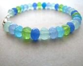 Chalcedony Bracelet Quartz Gemstone Beaded Ocean Colors Pastel BellinaCreations Bellina Creation