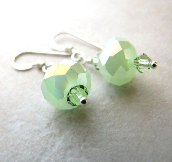 Green Peridot Earrings Crystal Earrings Mint Green Bridal Earrings Pastel Bellina Creations BellinaCreations