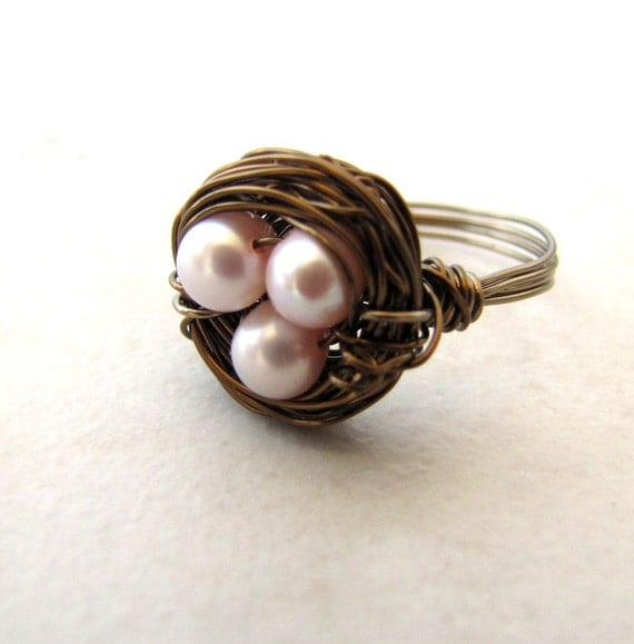 Birds Nest Ring Pink Pearl Eggs Hummingbird Nest Bronze Wire Wrapped Size 8 BellinaCreations