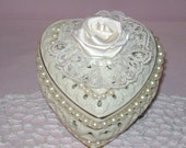 Ceramic Heart Shaped Trinket Box with a Satin Rolled Ribbon Rose, Pearls, and Lace