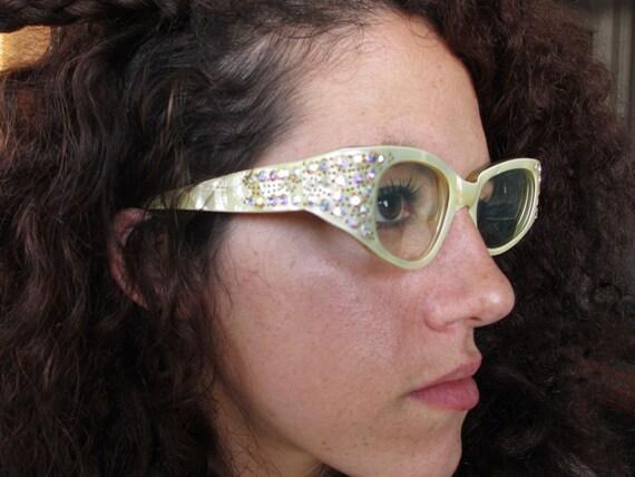 1950s Rhinestone Cateye Glasses Lucite Pearl France