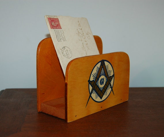 Vintage Wood Letter Holder or Napkin Holder - Masonic