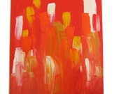 Red and orange linear abstract in acrylic