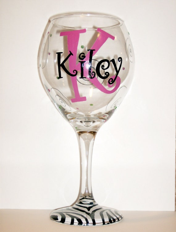 Initial zebra hand painted wedding party by liquidtherapy for Painted wine glasses with initials