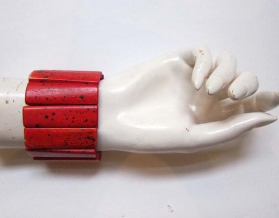 Vintage retro hand painted red and black polkadot bone stretch cuff bracelet