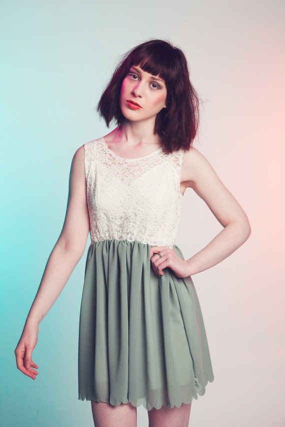 Grecian Green ethereal lace and chiffon dress Garden Party
