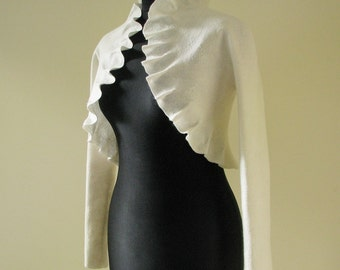 Bridal bolero jacket with long sleeves - felted softest wool - very soft and tender