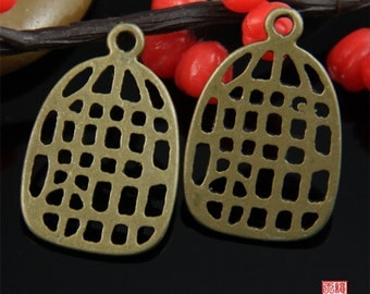 5pcs Brass Bird Cage Charm