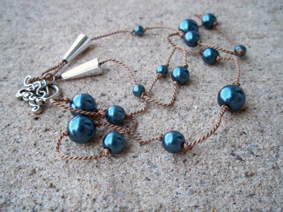 Knotted Blue Pearl Necklace