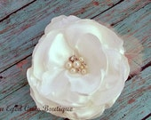 Ivory Bridal Flower Hair Clip, Wedding Hair Accessory, Fascinator, Shantung, Pearl Beads, Bridal Head Piece