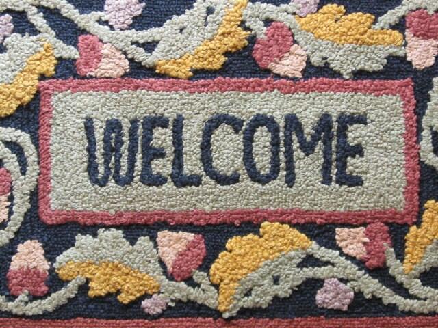 Welcome Home Vintage Hooked Rug Door Mat