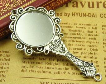 2 pcs Antique Silver Handheld Mirror Charms 68x35mm CH1048