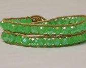 Sage green leather wrap bracelet