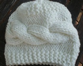 Knitted Baby Hat, Horizontal Cable Baby Boy or Girl Hat, Newborn Baby Hat