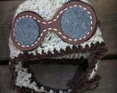 READY TO SHIP 0 to 3 Month Baby Sale Crocheted Aviator Hat with Goggles,  Baby Boy Aviator Hat, Newborn Baby Aviator Hat