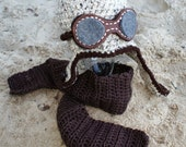 Ready to Ship:  Crochet Aviator Hat with Goggles and Crocheted Scarf Crocheted Hat, Toddler Hat