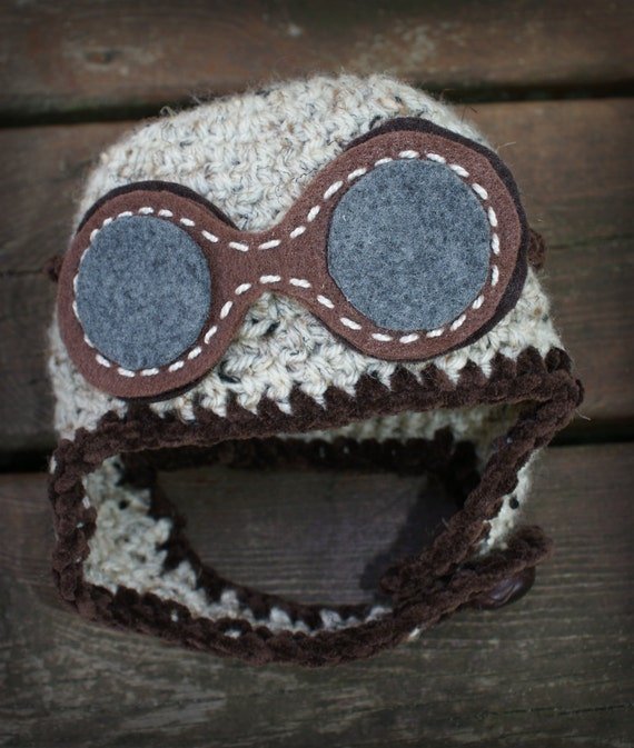 Baby Crocheted Aviator Hat with Goggles Natural Fleck Color Newborn Baby Aviator Hat