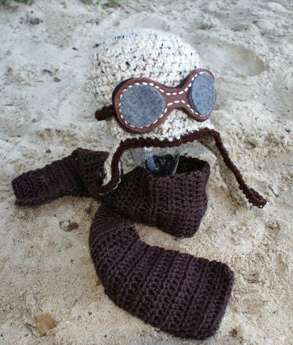 Items similar to Crochet Toddler Aviator Hat with Goggles ...