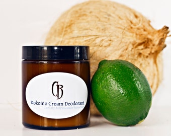 Kokomo Cream Natural Deodorant - Handmade Creamy, Dreamy Tropical Organic- 4.75 oz With Recipe