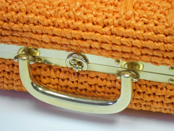 Vintage 1980s straw purse orange tangerine goldtone trim Italian designer