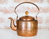 Rustic Vintage Brass Teapot - Made in USSR - Russian Vintage Kitchen Decor - Farmhouse Cottage