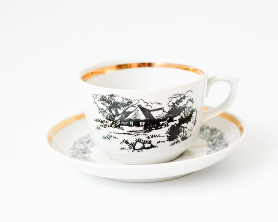 Soviet Vintage Tea Set - 3 Teacups and 3 Saucers - Kitchen Decor - Made in USSR