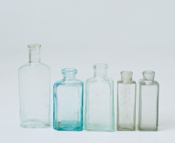 Collection of 5 Vintage Glass Bottles - Soviet Union USSR Era - Home Beach House Decor - Storage