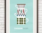 Kitchen art print, scandinavian design, Stig Lindberg, Tea print, Mid Century Modern poster,