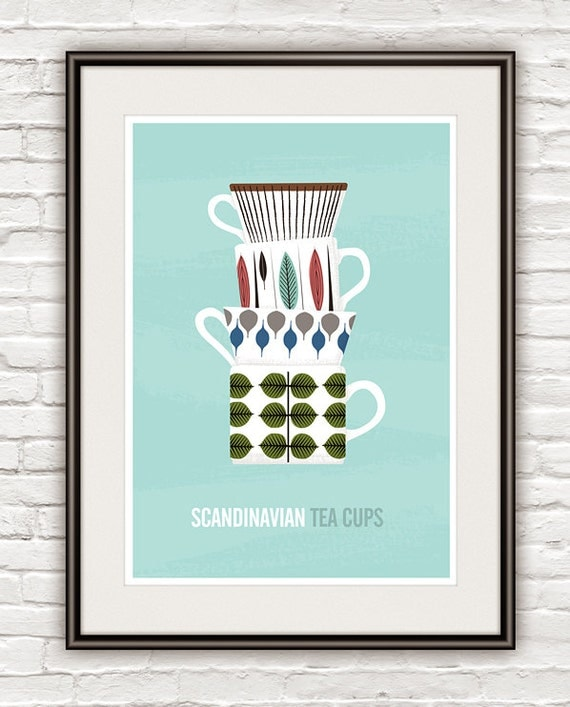 Kitchen art print scandinavian design Stig Lindberg Tea
