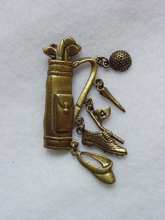 Vintage Golf Bag & Accessories Pin / Brooch by JJ.. Gold Finish