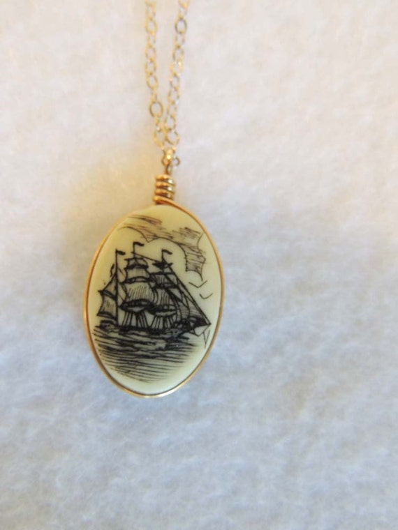 Vintage Scrimshaw Pendant Necklace Sailing Ship