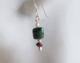 Green and Red Earrings with Ruby in Zoisite,Garnet, and Sterling Silver