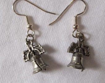 Liberty Bell Pewter Charm Earrings