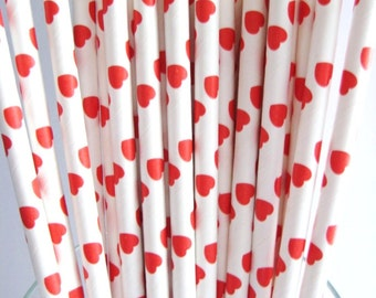 25 Red & White Hearts Retro Party Paper Drinking Straws A164