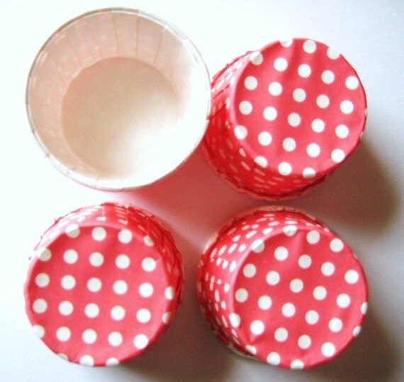 24 MINI Cupcake Muffin Liners Hot Pink with White polka dots CUP118
