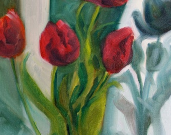 Tulip Painting - oil painting - original flower painting - spring flowers - floral painting - garden fine art home decor - impressionist