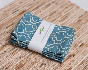 Small Cloth Napkins - Set of 4 - (N869s) - Blue Tile Modern Reusable Fabric Napkins
