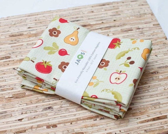 Eco-Friendly Large Cloth Napkins - Set of 4 - (N740)