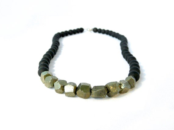 cyber monday. METAL. pyrite and matte black onyx necklace. metallic  fools gold and sterling silver clasp. urban. gift for her.