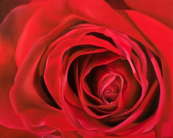 Print Oil Painting Red Rose -Gift of the Rose Collection- Fine Art Quality Open Edition-Respect- 8x10