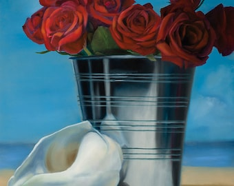 Original Oil Painting Print Red Rose -Gift of the Rose Collection- Open Edition-Devotion- 8x10