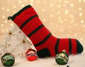 Crochet Christmas Stocking-Holly Berry-Evergreen