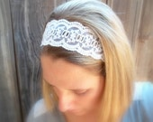 C A L I C O - White Lace Floral Trim Women's White Stretch Elastic Headwrap Headband